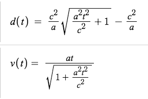 Expressions for relativistic distance and velocity as a function of proper time and a constant proper acceleration.